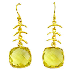 12.12cts natural lemon topaz 14k gold dangle handmade earrings t14602