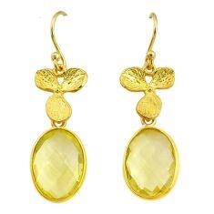 11.28cts natural lemon topaz handmade 14k gold dangle earrings t16535
