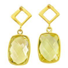 10.89cts natural lemon topaz handmade 14k gold dangle earrings t16554