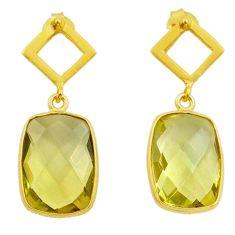 10.18cts natural lemon topaz 925 sterling silver 14k gold dangle earrings t44215