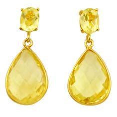18.15cts natural lemon topaz 925 sterling silver 14k gold earrings r31526