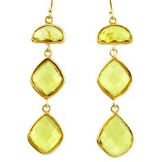 20.39cts natural lemon topaz 925 sterling silver 14k gold earrings r38525