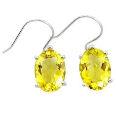 12.07cts natural lemon topaz 925 sterling silver dangle earrings jewelry r25829