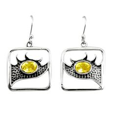 3.02cts natural lemon topaz 925 sterling silver dangle earrings jewelry r27007