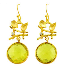16.62cts natural lemon topaz topaz 925 silver 14k gold dangle earrings r31707