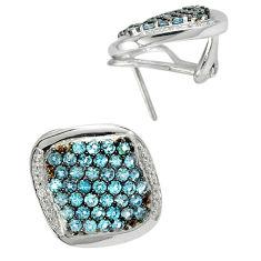 Natural london blue topaz white topaz 925 sterling silver stud earrings c20687