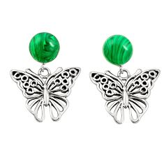 Natural green malachite (pilots stone) 925 silver butterfly earrings c11716