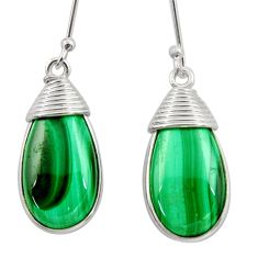 19.21cts natural malachite (pilot's stone) 925 silver dangle earrings d39949