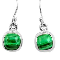 4.62cts natural malachite (pilot's stone) 925 silver dangle earrings r26735
