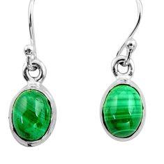 4.91cts natural malachite (pilot's stone) 925 silver dangle earrings r26736