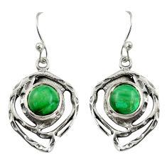 5.75cts natural malachite (pilot's stone) 925 silver dangle earrings r39163
