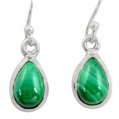 4.93cts natural malachite (pilot's stone) 925 silver dangle earrings r41094