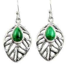 4.73cts natural malachite (pilot's stone) 925 silver dangle leaf earrings r39182