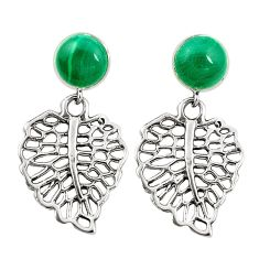 Natural green malachite (pilots stone) 925 silver deltoid leaf earrings c11694