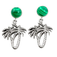 Natural green malachite (pilots stone) 925 silver palm tree earrings c11614