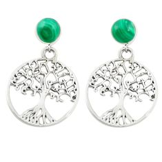 Natural green malachite (pilots stone) 925 silver tree of life earrings c11691