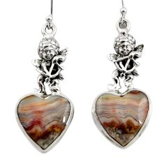 Natural mexican laguna lace agate 925 silver cupid angel wings earrings r45258