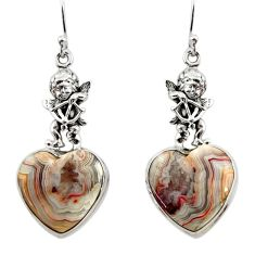 Natural mexican laguna lace agate 925 silver cupid angel wings earrings r45259