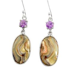 Clearance Sale- 14.08cts natural mexican laguna lace agate 925 silver dangle earrings d39554