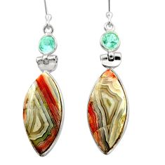 Clearance Sale- 16.88cts natural mexican laguna lace agate 925 silver dangle earrings d39936