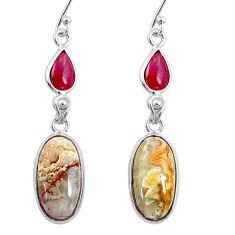12.54cts natural mexican laguna lace agate 925 silver dangle earrings r68283