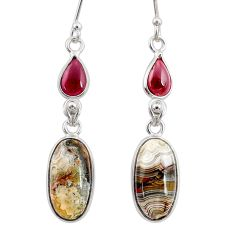 12.57cts natural mexican laguna lace agate 925 silver dangle earrings r68285