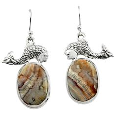 23.30cts natural mexican laguna lace agate 925 silver fish earrings r45248