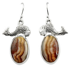 21.67cts natural mexican laguna lace agate 925 silver fish earrings r45253