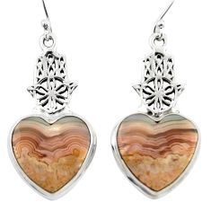 Natural mexican laguna lace agate 925 silver hand of god heart earrings r46950
