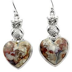 26.13cts natural mexican laguna lace agate 925 silver owl earrings r45249