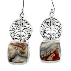 Natural mexican laguna lace agate 925 silver tree of life earrings r45242
