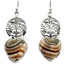 Natural mexican laguna lace agate 925 silver tree of life earrings r45256