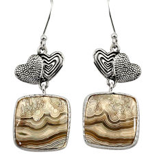 Clearance Sale- 17.50cts natural mexican laguna lace agate silver couple hearts earrings d39652