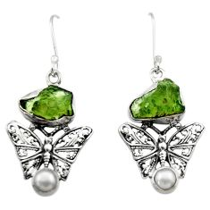 9.03cts natural moldavite (genuine czech) 925 silver butterfly earrings r29524