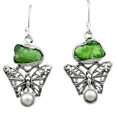 10.25cts natural moldavite (genuine czech) 925 silver butterfly earrings r29535