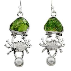 12.29cts natural moldavite (genuine czech) 925 silver crab earrings r29526