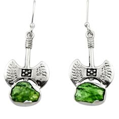 9.04cts natural moldavite (genuine czech) 925 silver dangle earrings r29525