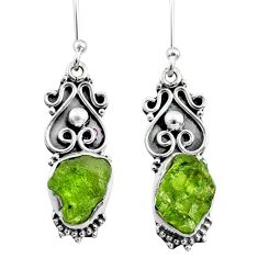 8.61cts natural raw peridot crystal 925 silver dangle earrings r65952