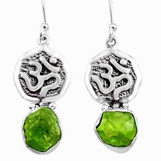 9.87cts natural raw peridot crystal 925 silver dangle earrings r65954