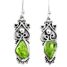 8.53cts natural raw peridot crystal 925 silver dangle earrings r65956