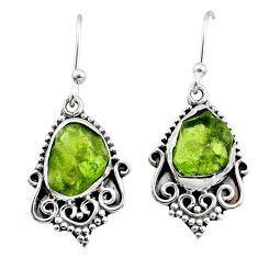 8.53cts natural raw peridot crystal 925 silver dangle earrings r65962