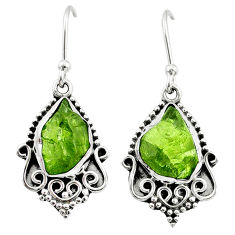 8.68cts natural raw peridot crystal 925 silver dangle earrings r65964