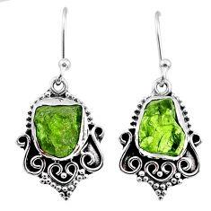 8.51cts natural raw peridot crystal 925 silver dangle earrings r65969