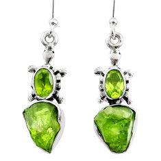 9.27cts natural raw peridot crystal 925 silver dangle earrings r65971