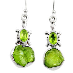9.47cts natural raw peridot crystal 925 silver dangle earrings r65975
