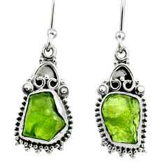 8.23cts natural raw peridot crystal 925 silver dangle earrings r65978