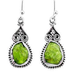 8.49cts natural raw peridot crystal 925 silver dangle earrings r65990
