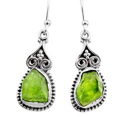 7.92cts natural raw peridot crystal 925 silver dangle earrings r65992