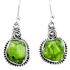 9.83cts natural raw peridot crystal 925 silver dangle earrings r66007