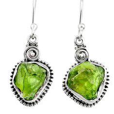 9.37cts natural raw peridot crystal 925 silver dangle earrings r66008